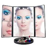 Sobrovo 1x 2X 3X Aumentador Mesa LED Espejo de Maquillaje Plegable con Iluminación Led 22 Bombillas y Pantalla Táctil para Belleza USB y La Batería Tri-Fold Espejo Cosmético 28 * 16 * 23cm