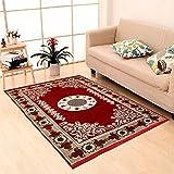 Zesture Home Traditional Home 6D Floral Design Maroon Multipurpose Living Room,Bedroom, Kitchen, Picnic, Praying Modern Carpet/Area Rug/dhurrie