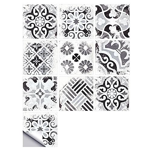 Fawyhr 10 unids/set ornamento floral pegatina de pared arabesca, cocina decoración para el hogar Cerámica calcomanías de pared azulejos de fondos de arte mural Azulejos de piso autoadhesivo Hermosa