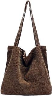 Ulisty Damen Grosse Kapazität Cord Schultertasche Retro Handtasche Mode Einkaufstasche Tägliche Tasche Kaffee