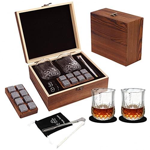 DAGONGREN Gafas de whisky, gafas escoceses, 2 gafas 8 Rocas de granito Piedras relajantes con caja de regalo de madera para padre esposo amigos (Color : A, Size : As shown)