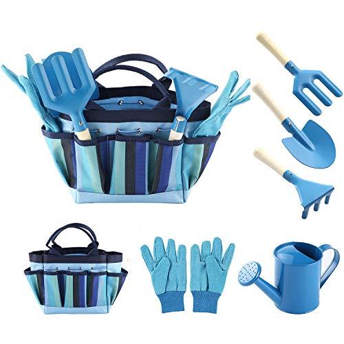 Evelure Juego de herramientas de jardinería para niños, juego de herramientas de jardín de 6 piezas para niños con regadera, guantes de jardinería, pala, rastrillo, paleta (azul)