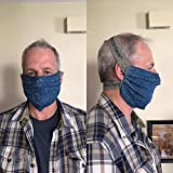 Reusable Cotton Face Mask - 3 layers of soft cotton, washable, over the head and neck wide elastic for comfort, no ear irritation.