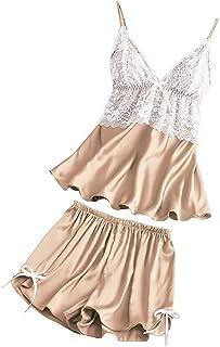 Ropa Interior de Tirantes con Cuello en V, Chaleco de satén de Encaje Mujer pantalón Corto con Pijama