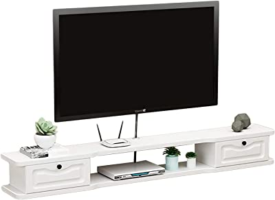 TV Cabinet, TV Lowboard, Floating Shelves, Floating TV Stand Component Shelf, White 120/140/160cm Wall Mounted TV Media Console, Space Saving and Easy to Clean. (Size : 120CM)