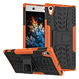 MRSTER Sony Xperia XA1 Ultra Hülle, Outdoor Hard Cover Heavy Duty Dual Layer Armor Hülle Stoßfest Schutzhülle mit Ständer Handyhülle für Sony Xperia XA1 Ultra. Hyun Orange