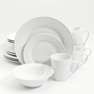 ادوات مائدة من جيبسون، مصنوعة من السيراميك، مجموعة من 16 قطعة، لون ابيض