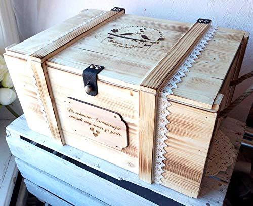 Erinnerungskiste Vintage aus Holz mit Wunschmotiv – Hochzeitsgeschenk personalisiert – Erinnerungskiste mit Gravur – Hochzeitskiste – Hochzeitstruhe - 2