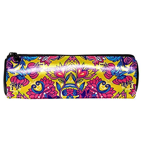 Hippie Mandala patrón de colores estuche de papelería bolsa de almacenamiento organizador bolsa de cosméticos para la escuela, adolescentes, niñas, niños, hombres y mujeres