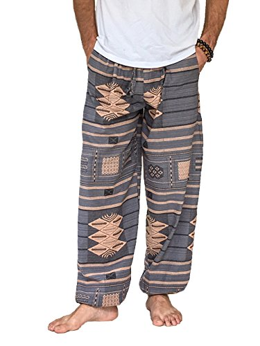 Love Quality Baggy Pants Men's One Size Printed 100% Cotton Harem Pants Hippie Boho (Gray)