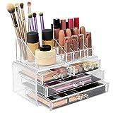 Pukkr Organizador de Maquillaje y Joyas | Soporte de acrílico transparente de 20 secciones | Cajones de pie apilables o libres incluidos