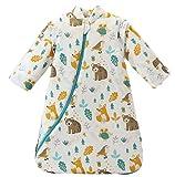 Npoca ベビー スリーパー 着る布団 厚め 寝冷え 防止 長袖 袖取り外し 可能 布団の跳ね除け 対策 に (M, 森の動物)