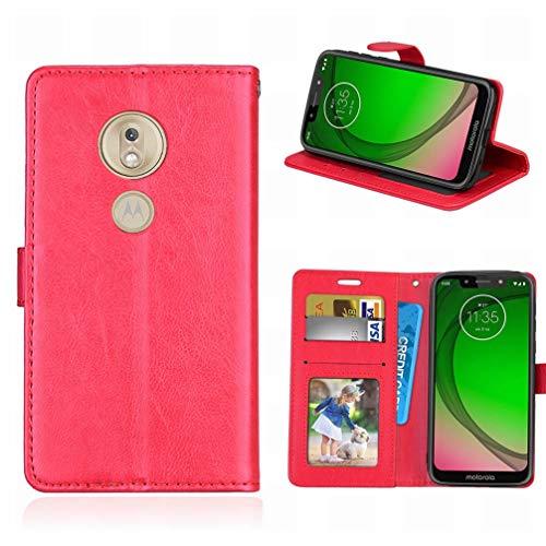 Laybomo Handyhülle für Motorola Moto G7 Play Hülle Ledertasche Weiches Gummi Silikon TPU Haut Beutel Schützend Stehen Bilderrahmen Brieftasche Schale Tasche Schuzhülle für Moto G7 Play (Rot)
