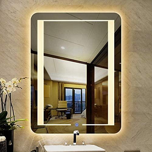 NMDCDH Espejo de baño Moderno con Luces, Espejo de tocador HD Iluminado por LED de Montaje en Pared con Interruptor de Sensor táctil, Rectangular sin Marco, Horizontal/Vertical