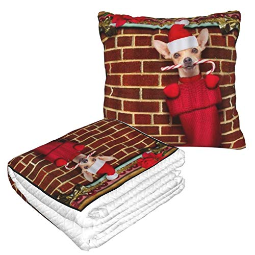 XINGAKA Reisedecke,Chihuahua Hund Weihnachtsstrümpfe Socken Weihnachtsferien hängen an der Wand des Schornsteins,Kopfkissen Warm Weich 2in1 Combo Decke für Flugzeug,Camping,Autoreisen