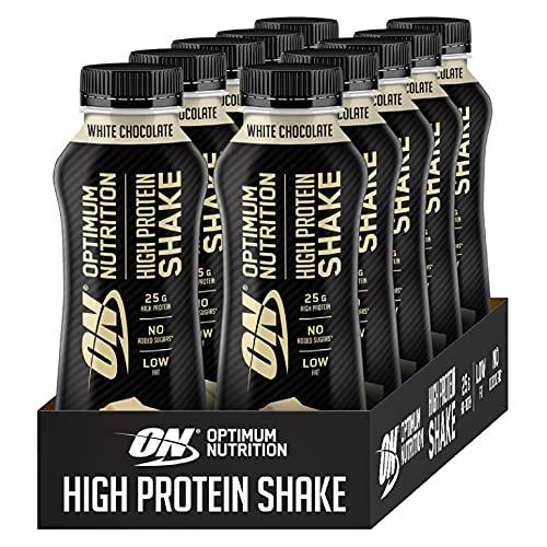 Optimum Nutrition ON High Protein Shake, Frullato Proteico con Proteine Whey, Milkshake Pronto da Bere per Aumento della Massa Muscolare, Cioccolato Bianco, Cofezione da 10, 10x330ml