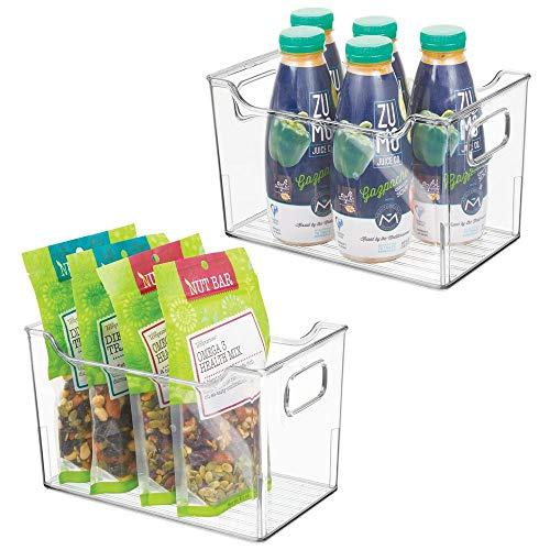 mDesign Juego de 2 fiambreras para el frigorífico – Cajas de plástico para guardar alimentos – Organizador de nevera para lácteos, frutas y otros alimentos – transparente