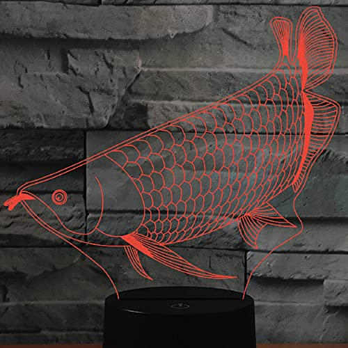 Jinson well Lámpara de luz nocturna 3D con diseño de peces, 7 cambios de color, interruptor táctil, lámpara decorativa con acrílico plano, ABS, cable USB, juguete
