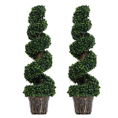 Outsunny Set of 2 Artificial Boxwood Spiral Topiary Trees Potted Decorative Plant Outdoor and Indoor Décor 112cm