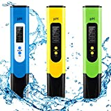 3 Packs Digital PH Meter 0.01 PH Accuracy Pocket Size PH Tester Kit with Built-in ATC 3-Point Calibration for Easy Calibration Household Drinking Water, Swimming Pools, Aquariums, Hydroponics