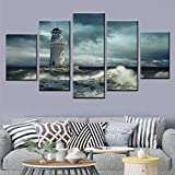 DGGDVP HD Print Poster 5 Piece Set Lighthouse Cloudy Big Wave Seascape Canvas Painting Wall Art Picture House Modern Home Decor Size 1 Sin Marco
