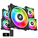 Asiahorse FS-9002 Pro 20+6LED(in and Outside Light efect) ARGB Black 120mm Pwm Case Fan with 5V PWM Motherboard Sync/Analog Controller (5 Pack)