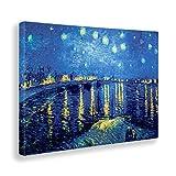 - Quadro - Stampa su Tela Canvas - Vincent Van Gogh - Notte Stellata sul Rodano - 100 X 140 Cm