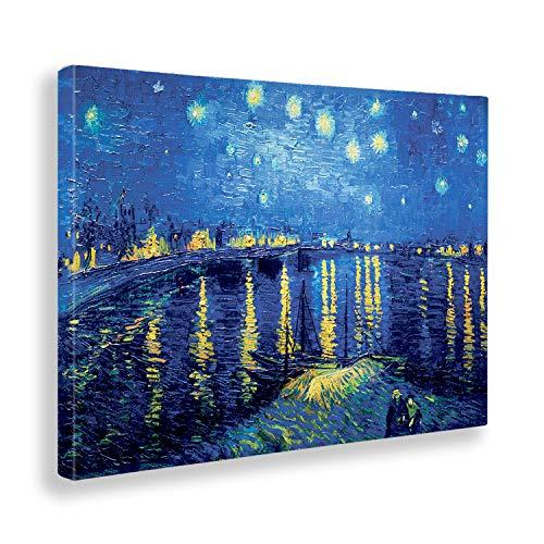 Giallobus - Pintura - Vincent Van Gogh - Notte stellata sul Rodano - Tela Canvas - 100x70