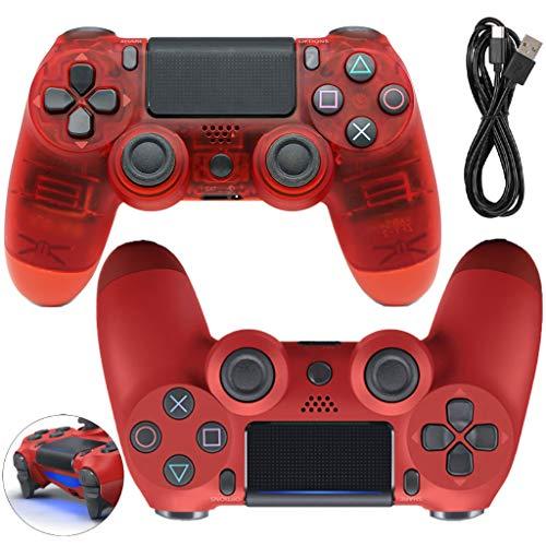 LPWCAWL Manette sans Fil PS4, Manette De Jeu Bluetooth, Manette De Jeu Rechargeable avec Double Moteur De Vibration et Haut-Parleur, Contrôleur D'entrée De Gamme pour PS4, 2PCS,Rouge