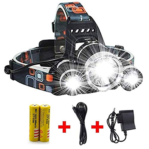 Super Bright 20000 Lumens Headlamp Flashlight,Brightest Work Headlight,Waterproof Hard Hat Light 4 Modes with 2 Rechargeable Batteries, USB Cable and Wall Charger for Camping Hunting Outdoor Sports