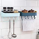 HOME CUBE Multipurpose Plastic Kitchen Bathroom Shelf Wall Storage Rack with Magic Sticker Towel Holder with 4 Hook (Random Colour, Standard) -2 Pieces