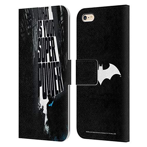 Head Case Designs Oficial Batman DC Comics Súper Potencia Dualidad Carcasa de Cuero Tipo Libro Compatible con Apple iPhone 6 Plus/iPhone 6s Plus