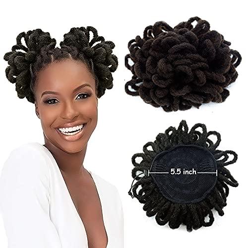 Afro Puff Drawstring Ponytail Dreadlocks Chignon Faux Locs Braids Bun Hair Synthetic Clip in Hair Extensions for Black Women(4#)