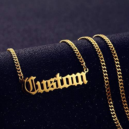 WDam Collar con Nombre Personalizado Colgante Cadena Cubana de Color Dorado Collares con Placa de identificación para Mujeres Hombres Regalos Hechos a Mano 3 MM, Oro Rosa, 40 cm
