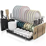 Boosiny Kitchen Dish Rack, 2 Tier Large 304 Stainless Steel Dish Drying Rack with Drainboard Set Utensil Holder Dish Drainer, Cutting Board Holder and Dish Racks for Counter