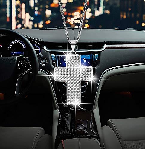 Bling car men and women supplies, car decor double-sided crystal diamond metal cross car rearview mirror pendant,Cute car interior decor accessories (White)