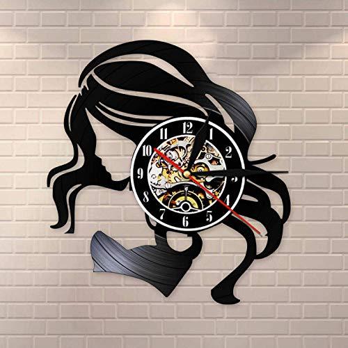 KEC Sign Retro Reloj de Pared Belleza Señora Peluquería Negocio Hecho de Vinilo LP Cuidado del Cabello Hermosa Mujer Peluquería Reloj de Pared Reloj