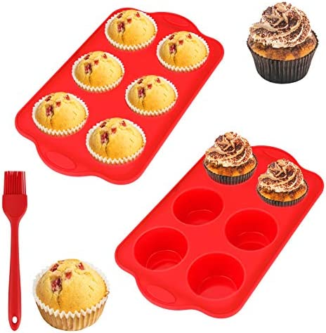 WIOR 2 PCs Silicone Muffin Pan with Oil Brush 6 Cup Non Stick Muffin Tin with Reinforced Stainless product image