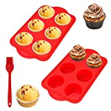 🧁【Professional Baking Set】This muffin pan set includes: 2 pcs 6-cup muffin pan which measures about 30cm/11.8'' x 17.8cm/7'' x 4cm/1.6'', and 1 oil brush measuring 11cm/4.3'' by 3.3cm/1.3''. And the dimension of every single cup mold are 6.8cm/2.7'' ...