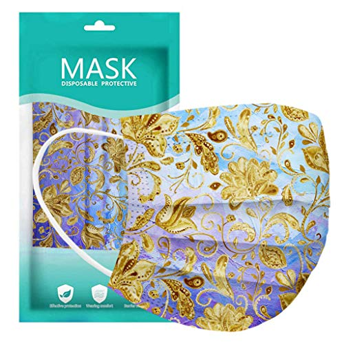 50 Pcs Disposable Face Macks, 3 Layer Best Breathable Face ṁɑѕḱ Lightweight for Adult, Men, Women, Indoor, Outdoor Use (20, Flower C)