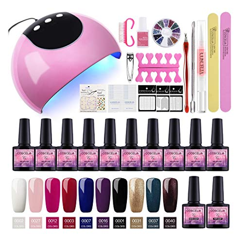Saint-Acior Esmalte Semi-Permanente para Uñas kit de 10PCS Nail Dryer 24W UV/LED Secador de Unas Base Coat Top Coat Manicura Kit