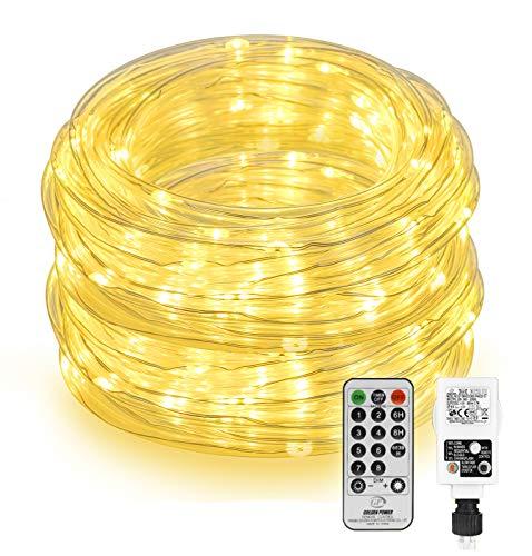 LED Lichtschlauch Außen 20M 200 LED, Othran LED Lichterkette mit Fernbedienung, Wasserdicht, Warmweiß Lichterkette Innen Strombetrieben, für...