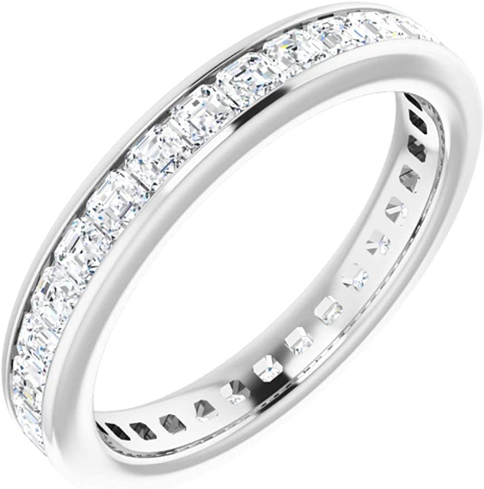 14k White Gold New mail order Diamond Eternity Max 85% OFF Band 8 7 5 Ring cttw Size
