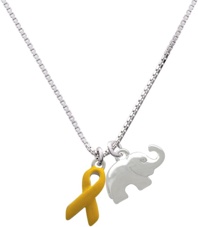 Delight Jewelry Awareness Ribbon Elephant Necklace 18+2