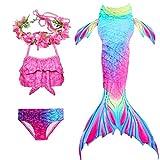 PaisDola Ragazze Coda da Sirena per Nuotare Bambina Costume da Bagno Incluso 3Pcs Bikini e Fiore Garland Archetto (DH95RH,130)