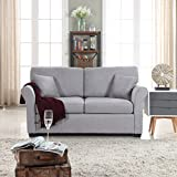 Divano Roma Furniture Fabric Loveseat, Light Grey