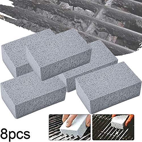 Kacniohen Grill Plancha Limpieza de ladrillo Bloque de Piedra ecológica Inodoro de Limpieza para Eliminar Las Manchas de Barbacoa de Limpieza 8Pack