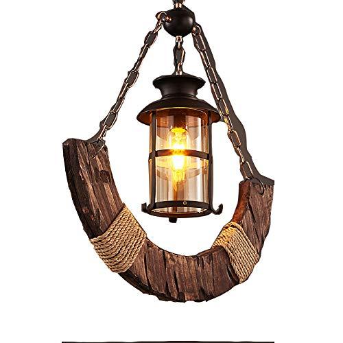 Hanglamp nostalgische bar loft net massief hout persoonlijkheid Gamma Cafe antieke decoratie kroonluchter