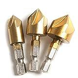 Juego de 5 flautas hexagonales de titanio para madera de metal, juego de 3,12 mm, 16 mm, 19 mm, vástago hexagonal, 5 flautas