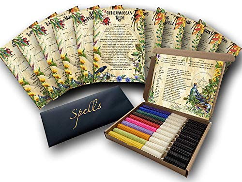 10 Witch's Spells & Candles Set - Natural Beeswax - Hand-rolled - Magic Candles for Witches - Pagan - Wiccan Supplies